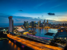 Skyline Of Financial District And Marina Bay At Sunset, Singapore