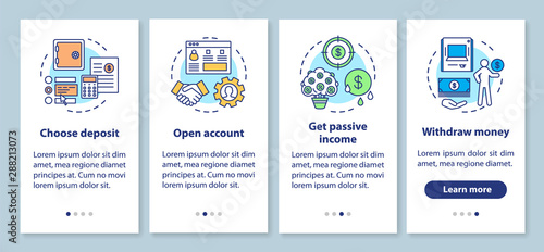 Fototapeta Bank deposit operations onboarding mobile app page screen with linear concepts. Banking service. Four walkthrough steps graphic instructions. UX, UI, GUI vector template with illustrations obraz
