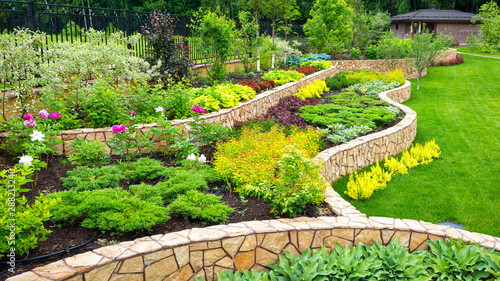 Fototapeta Landscaping panorama of home garden. Scenic view of landscaped garden in backyard. Landscape design with plants and flowers at residential house. Scenery of natural landscaping area in summer. obraz