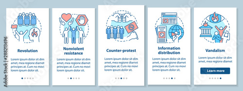 Civil unrest onboarding mobile app page screen with linear concepts Wallpaper Mural