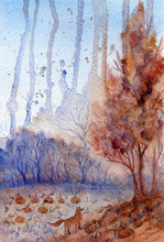 Abstract Watercolor Autumn Landscape With Pumpkins And Fox