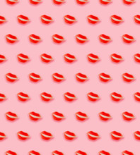 Red Lips Patterned On Pink