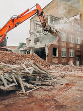 Demolition Of An Old Red Masonry Building