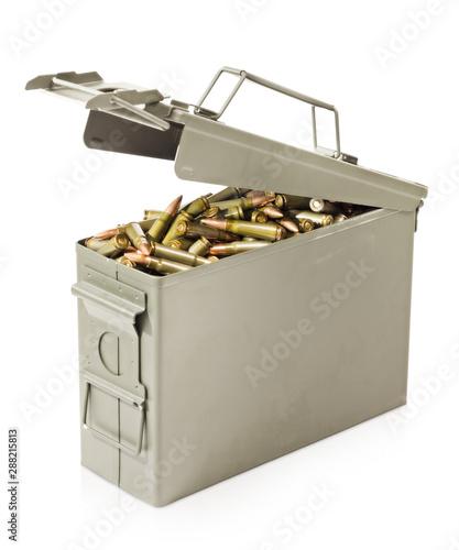 Leinwand Poster Box full of ammunition isolated on white background