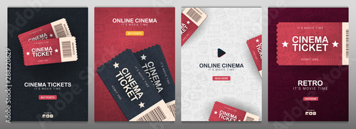 Cuadros en Lienzo Set of Cinema banners with tickets. Hand draw doodle background.