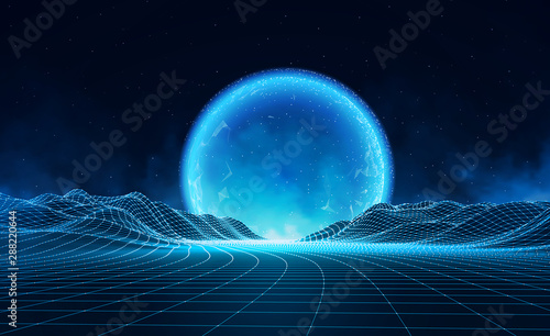 Recess Fitting Night blue Vector retro futuristic background. Abstract digital landscape with particles dots and stars on horizon. Wireframe landscape background. Big Data Digital retro landscape Retro Sci-Fi Background.