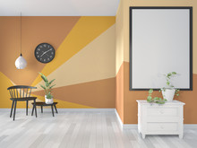Ideas Of Yellow And Orange Room Geometric Wall Art Paint Design Color Full Style On Wooden Floor.3D Rendering