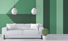 Ideas Of Green Room Geometric Wall Art Paint Design Color Full Style On Wooden Floor.3D Rendering