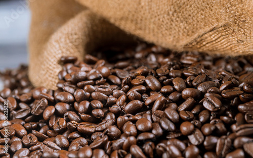 Coffee beans in fabric bag. Close up.