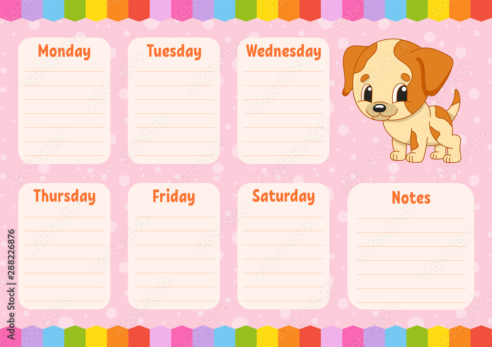 Fototapety, obrazy: School schedule. Timetable for schoolboys. Empty template. Weekly planer with notes. Isolated color vector illustration. Funny character. Cartoon style.