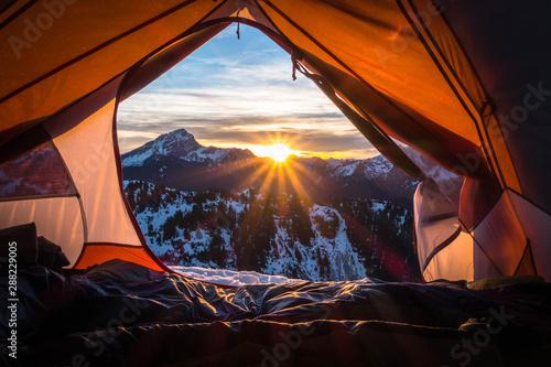 Fototapeta tent at sunset