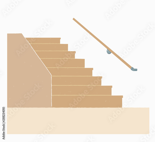 手すりのついた階段 Wallpaper Mural