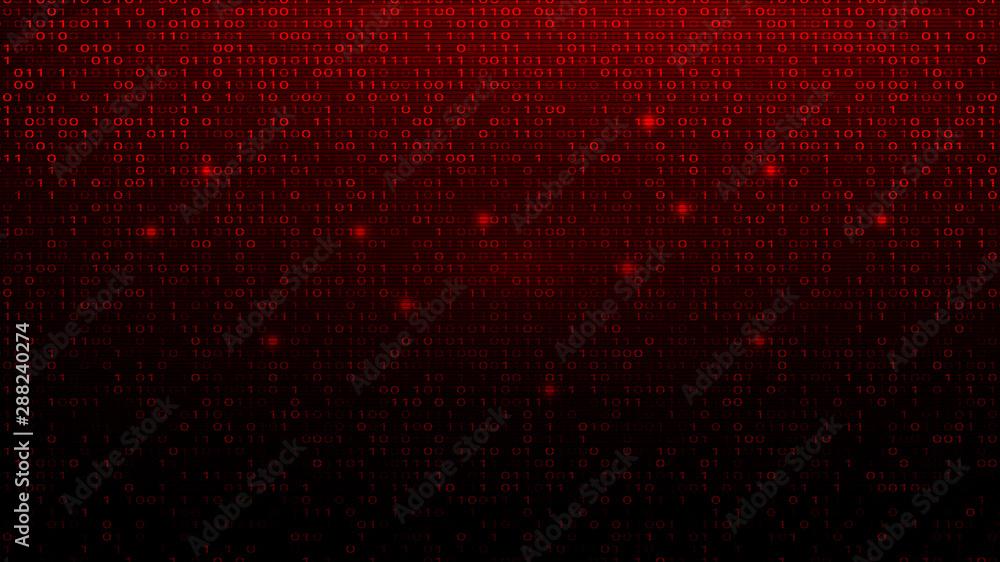 Fototapety, obrazy: Digital Binary Code on Red BG. Hacker Attack Concept