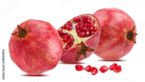 Photo sur Toile Les Textures Fresh pomegranate isolated on white background with clipping path