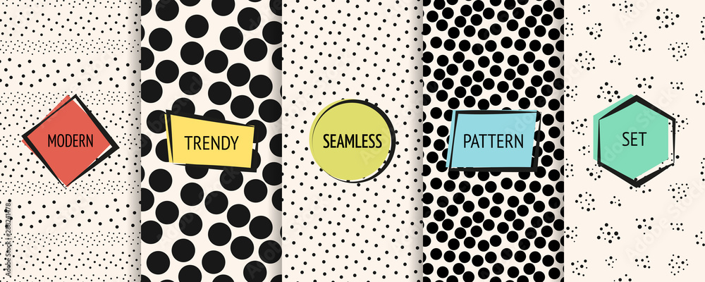 Fototapety, obrazy: Polka dot pattern set. Vector geometric seamless textures with circles, dots