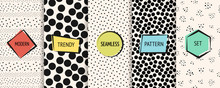 Polka Dot Patterns Collection. Vector Geometric Seamless Textures With Chaotic Circles, Dots, Spots. Set Of Black And White Minimal Abstract Dotted Background Swatches With Modern Colorful Labels