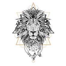 Hand Drawn Textured Lion In Az...