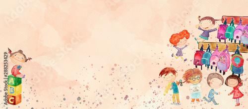 Kindergarten. Watercolor banner for children - 288253429