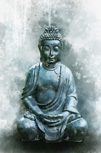 Watercolor Painting Of A Buddha Statue, Sign For Peace A