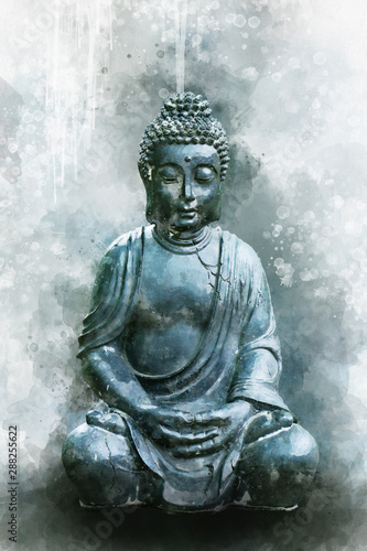 Leinwand Poster Watercolor painting of a buddha statue, sign for peace a