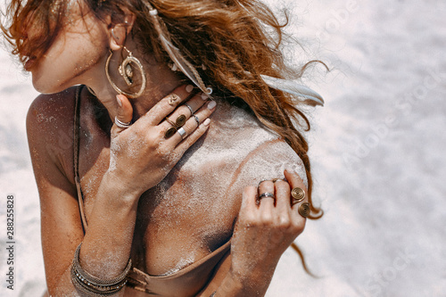 Fotografie, Obraz close up of beautiful young woman in bikini with tanned skin outdoors portrait