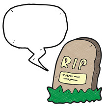 Digitally Drawn Illustration Tombstones And Speech Bubbles Design. Hand Drawing Texture Style