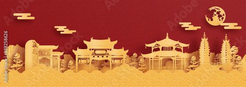 Panorama postcard and travel poster of world famous landmarks of Kunming, China Wallpaper Mural