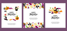 Halloween Cards Set With Celebratory Subjects. Handwriting Lettering Halloween. Place For Text. Flat Style Vector Illustration. Great For Party Invitation, Flyer, Greeting Card.