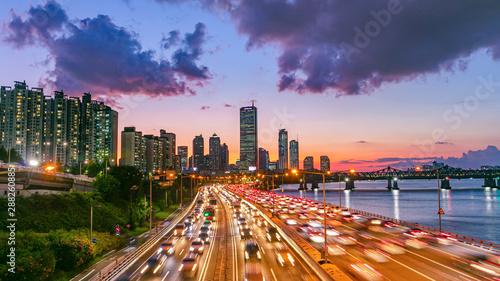 Obraz na płótnie Traffic Seoul City and Seoul City Skyline at Sunset South Korea