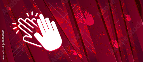 Photo Hands clap icon Abstract design bright red banner background
