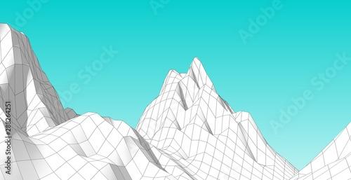 Foto auf Leinwand Turkis Illustration of terrain, mountains, desert, sand dune ,The Earth's background concept
