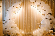 canvas print picture - Decorated arch for wedding ceremony. White balloons, candles, autumn leaves and small pumpkins. Autumn location and Halloween decor.