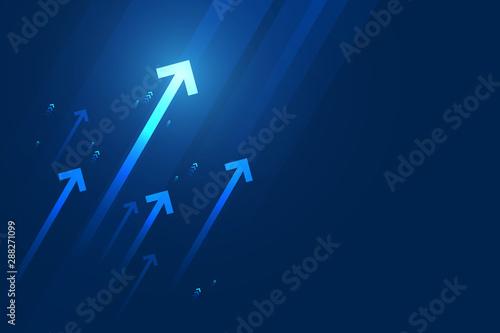 Obraz na plátně Light arrow up on dark blue background illustration, business growth concept