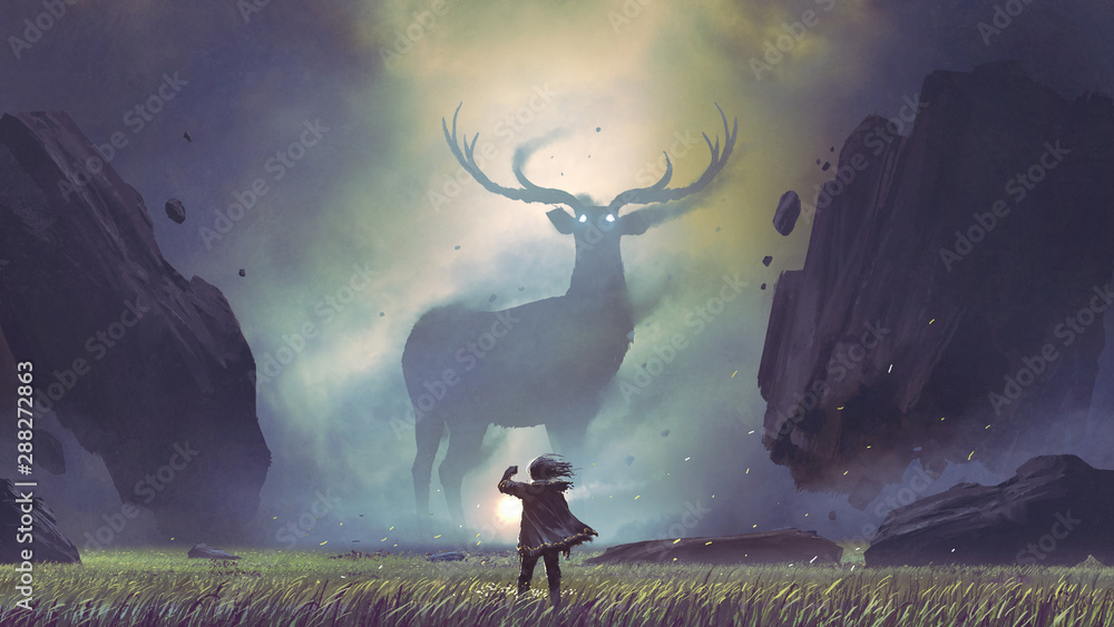 Fototapety, obrazy: the man with a magic lantern facing the giant deer in a mysterious valley, digital art style, illustration painting
