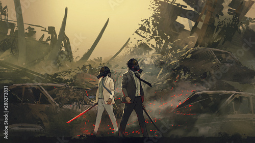 two men wearing gas mask holding sword standing against a vehicle graveyard in the dystopian world, digital art style, illustration painting