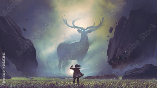 Spoed Foto op Canvas Grandfailure the man with a magic lantern facing the giant deer in a mysterious valley, digital art style, illustration painting