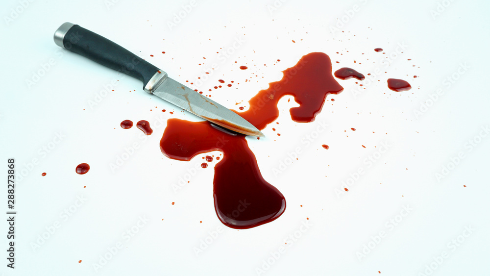 Fototapeta Drops of blood from a murder knife on white background, Front view Blank for design..