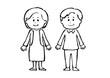人物, 人, シニア, 老人, 夫婦, おじいさん, おばあさん, お爺さん, お婆さん, モノクロ, 白黒, 白バック, 白背景, 手描き, 手書き, カット, 挿絵, 素材, イラスト, イラストレーション, 老夫婦, 笑顔, 喜ぶ, ベクター, 高齢者, 高齢, おじいちゃん, おばあちゃん, 可愛い, 全身, 正面, お年寄り, 中高年, 男女, 老後, シニア夫婦, 中高年夫婦, ポップ