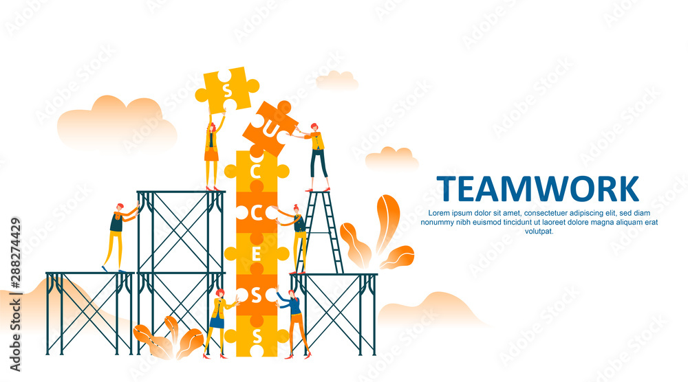 Fototapeta teamwork of people connecting puzzle elements with climbing stair and scaffolding to draw up success text . Business concept flat illustration can use for web banner, info graphics. - Vector