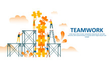 Teamwork Of People Connecting Puzzle Elements With Climbing Stair And Scaffolding To Draw Up Success Text . Business Concept Flat Illustration Can Use For Web Banner, Info Graphics. - Vector