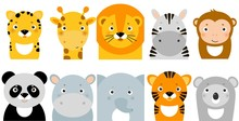 Jungle Animals Icons, Vector A...