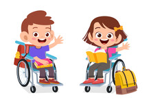 Kids Disabled Discuss Study Together