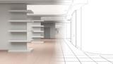empty pavilion, interior visualization, 3D illustration