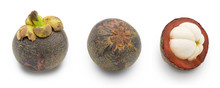 Set Of Rotting Mangosteen (Garcinia Mangostana) Isolated On White Background.