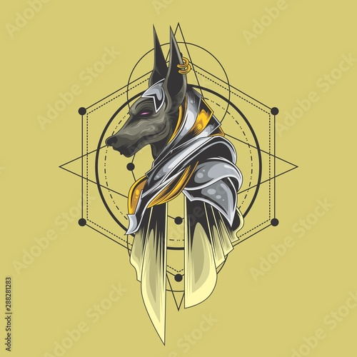 great anubis sacred geometry Wallpaper Mural