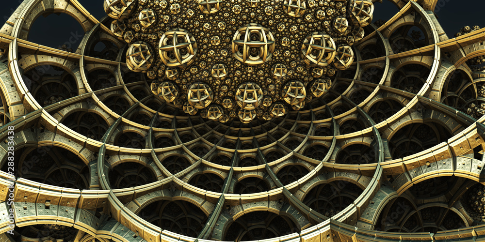 Fototapeta Abstract background 3D, fantastic structures and shapes, fictional sci fi render.