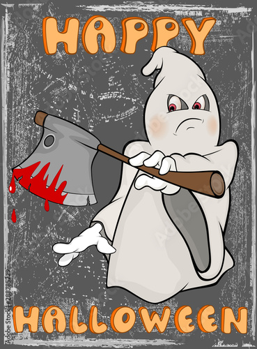 Fotobehang Babykamer Vector Happy Helloween Invitation Card with Cartoon Ghost Greeting Card Happy Moment