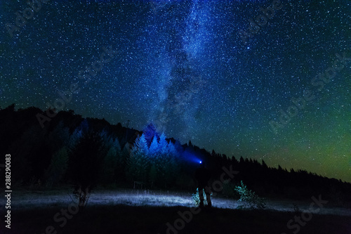 Foto auf Leinwand Blaue Nacht Night photos in the Ukrainian Carpathian Mountains with a bright starry sky and the Milky Way