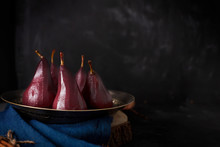 Poached Pears In Red Mulled Wi...