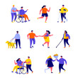Set of flat people disabled with their romantic partners and friends characters. Cartoon tiny people on street isolated on white background. Flat vector Illustration. Collection people characters.
